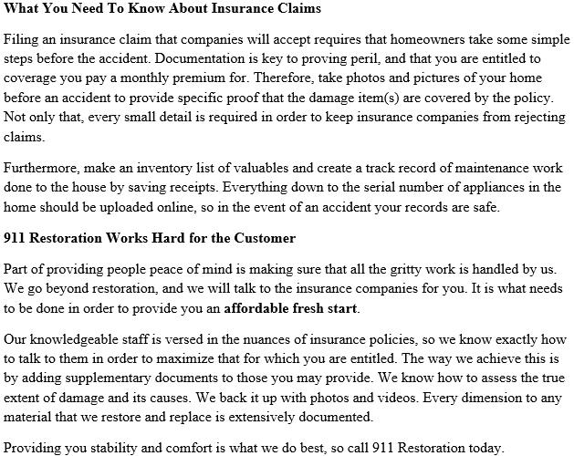 911 Restoration Miami's Insurance Policy