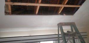 Water Damage Ceiling Restoration In Progress