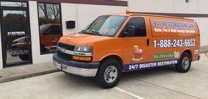 Mold Damage Restoration Van Ready At Job Site