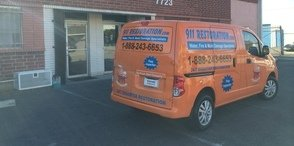 Mold and Water Damage Restoration Van Being Prepped